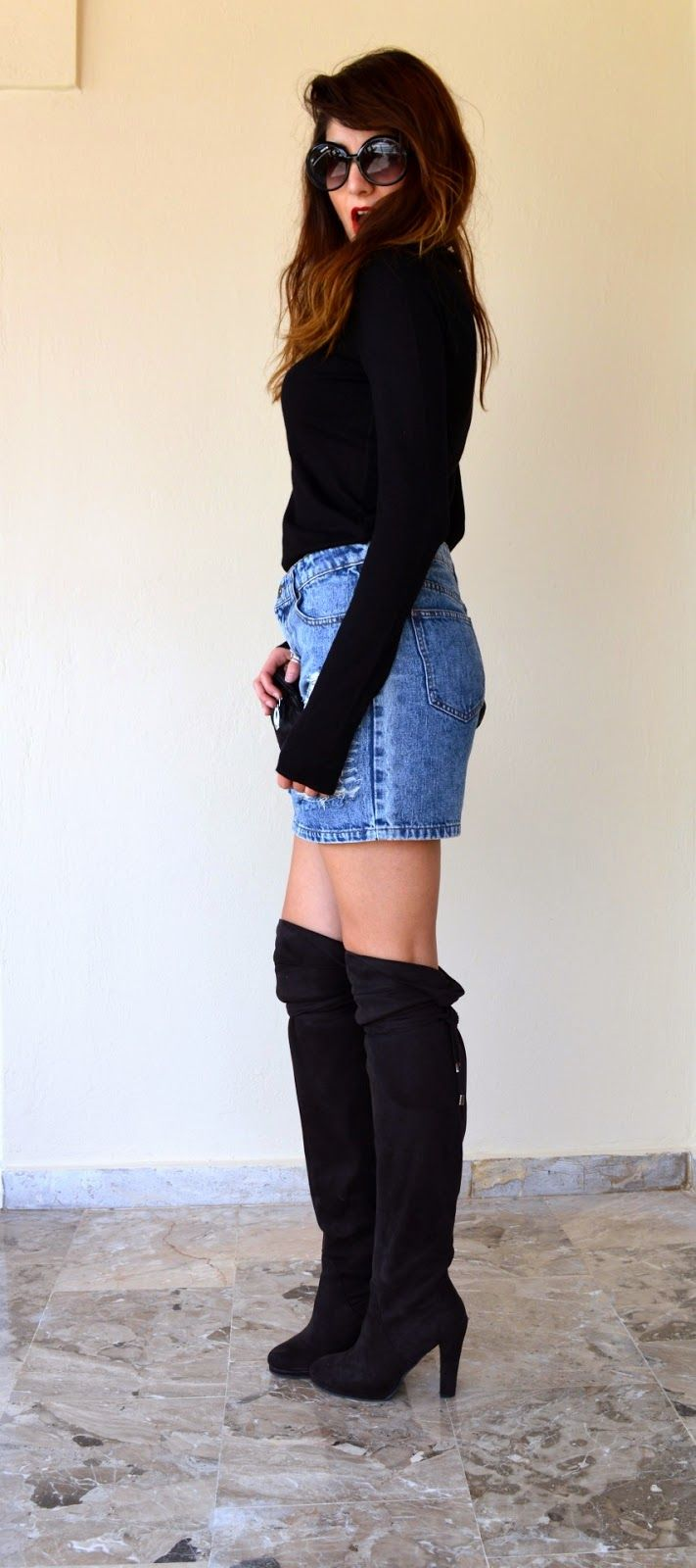 #thevirgostyle #blog #greek #blogger #fashion #style #ripped #denim #skirt #boots #suede #highknee #kneehigh #black #redlips