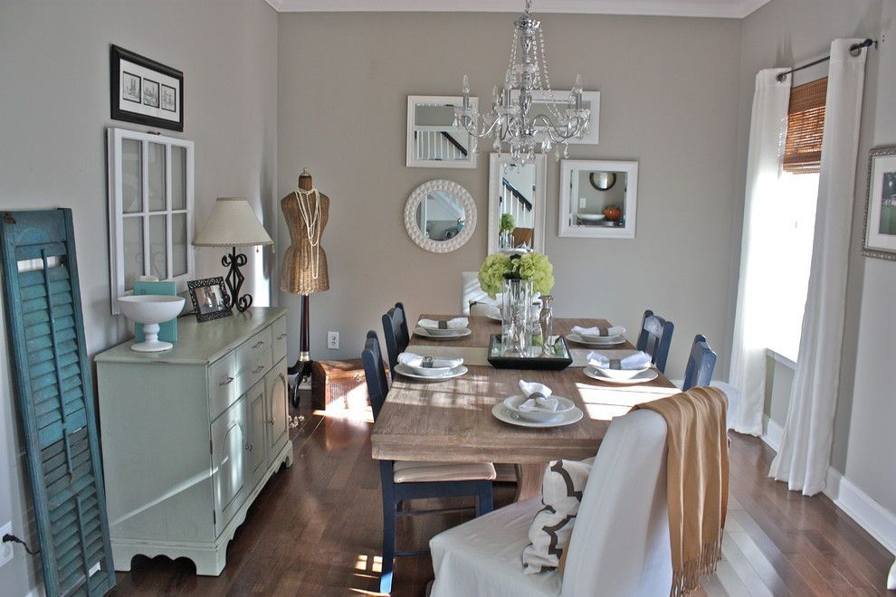 Sherwin williams anew gray for a shabby chic style dining for Grey shabby chic living room ideas