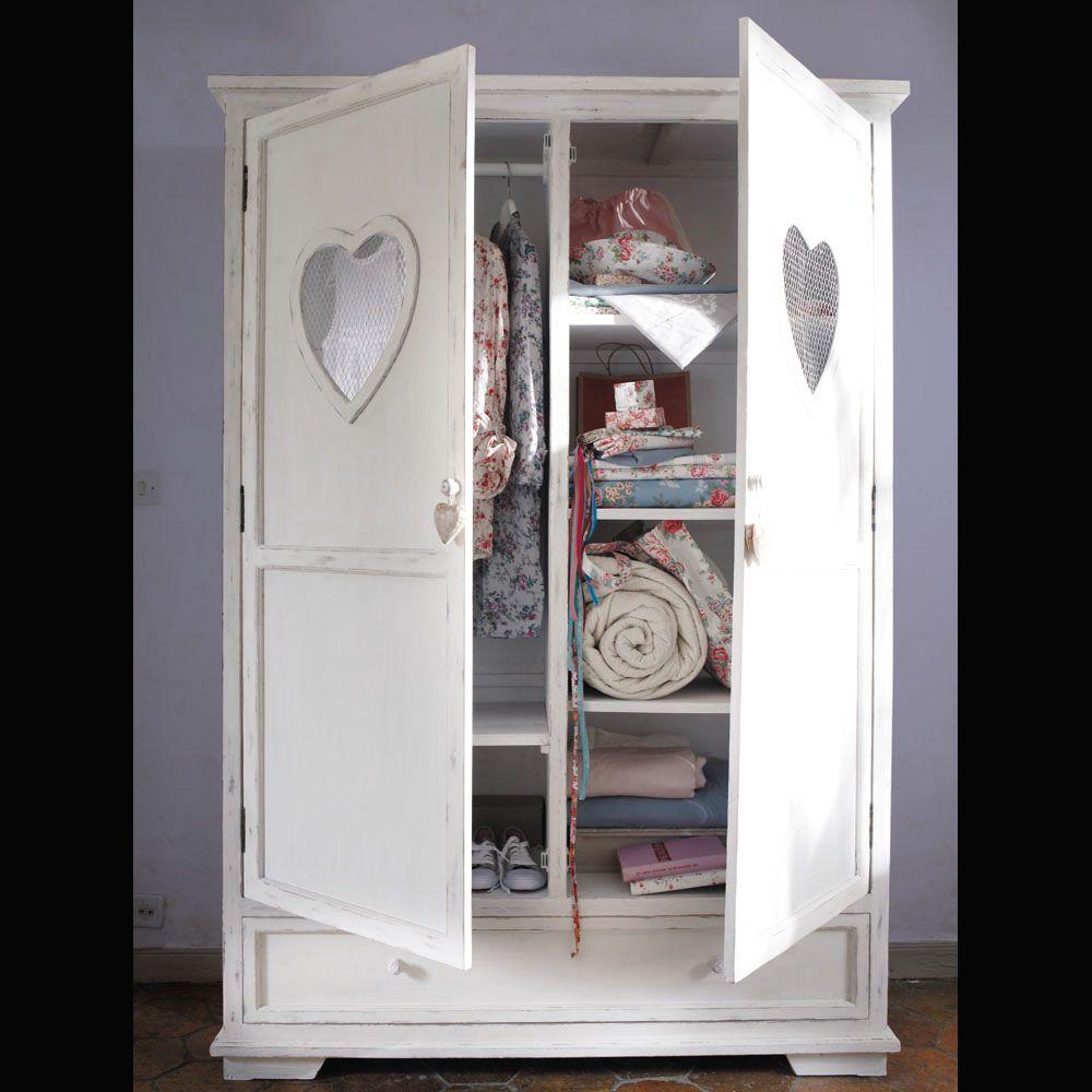 Schrank aus Holz, B130 , weiß Valentine | Kinder kleiderschrank ...
