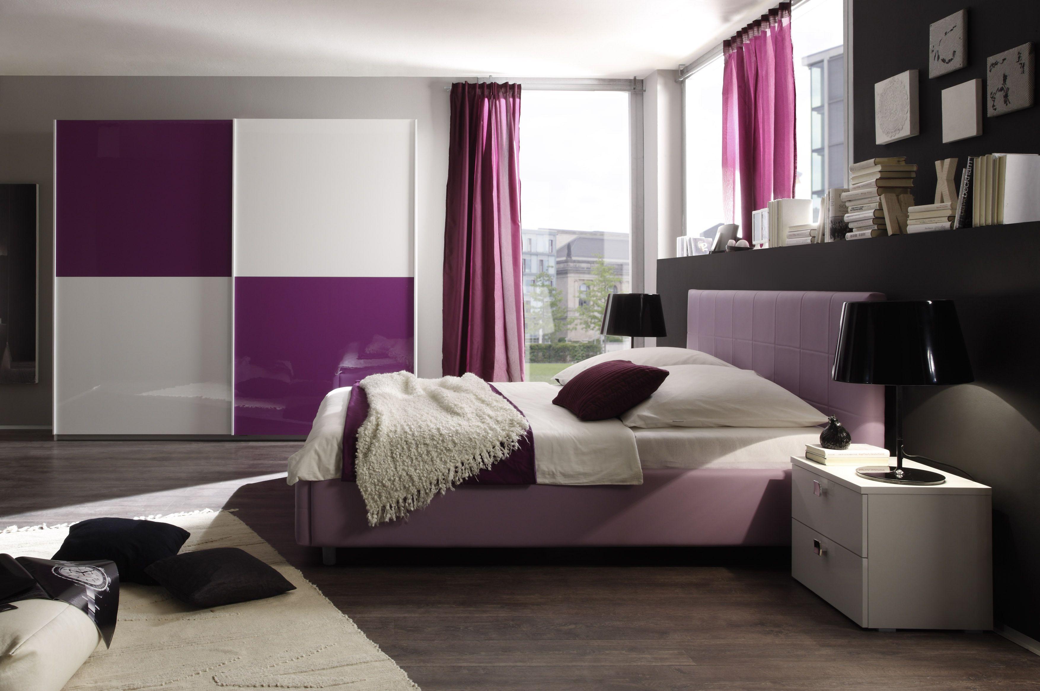 Schlafzimmer Mit Bett 140 X 200 Cm Weiss Lila Woody 12 00599
