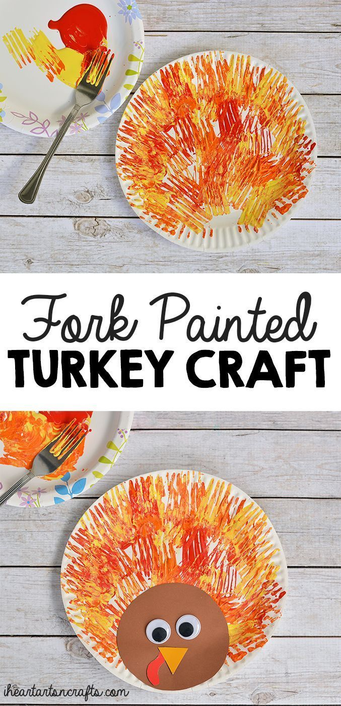 Fork painted turkey craft for kids turkey craft craft for Turkey country arts and crafts