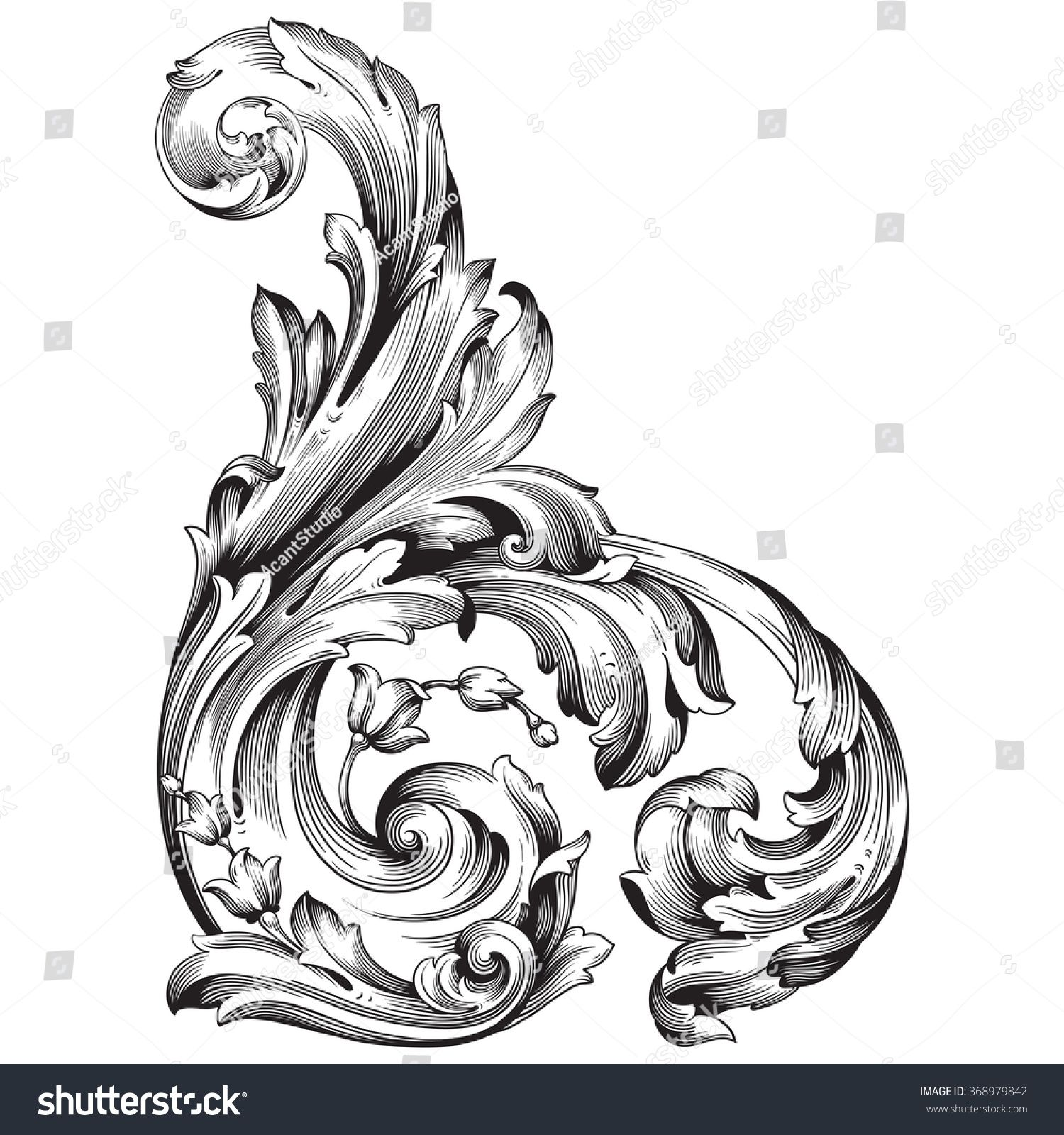 Vintage Baroque Frame Scroll Ornament Engraving Border Floral Retro Pattern Antique Style Acanthus Foliage Swir Filigree Tattoo Baroque Ornament Baroque Tattoo