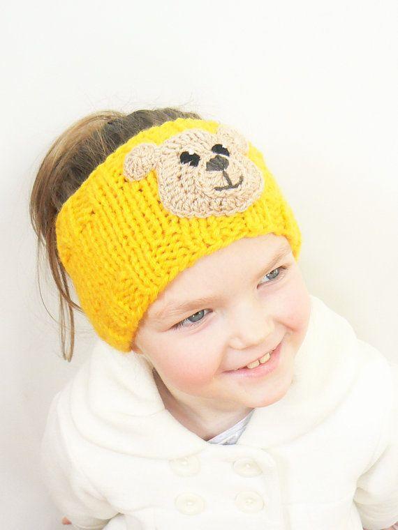 Knit Headband, Ear Warmer, Head Wrap, Girls Accessories, Teddy Bear, Winter Outfit, Bear Applique, Blue Headband, Navy Blue, Kids Fashion