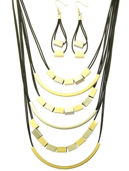 Necklace And Earring Set Multi Cord Bib Metallic Rod Matte Finish Fish Hook 16 Inch Long 4 Inch Drop