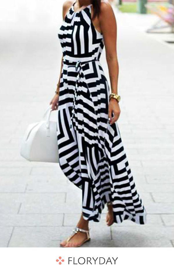 Ärmelloses Maxi-Kleid in X-Linie mit Streifen #afrikanischemode