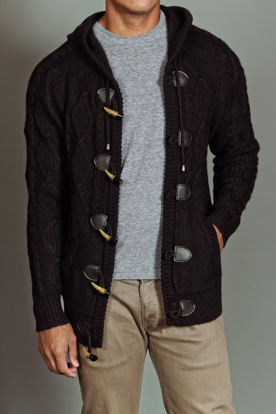 White Picket Fence Hooded Pouch Pocket Toggle Cardigan Sweater | $65.99 |  #JackThreads