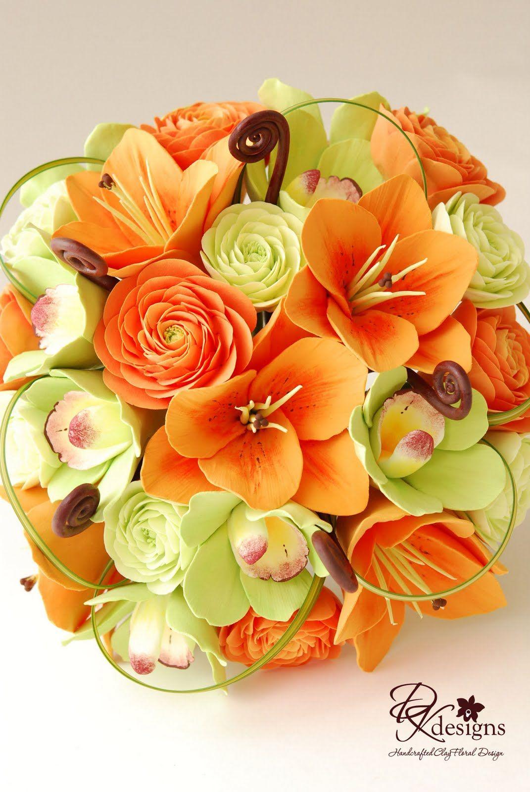 Orange Bridal Bouquets Orange Green And Brown Bridal Bouquet