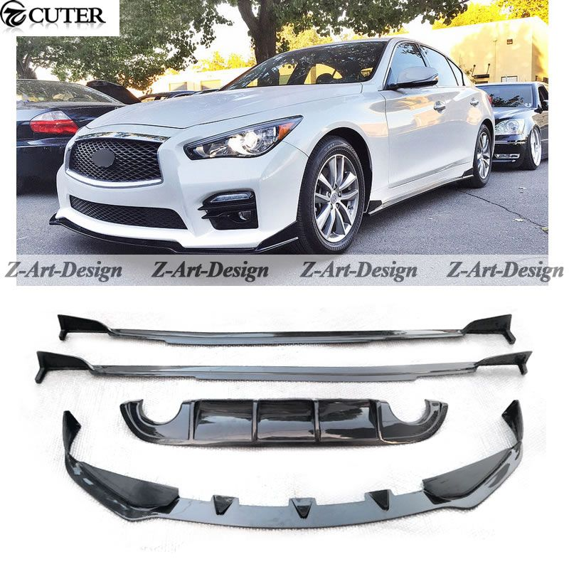 q50 carbon fiber car body kit for infiniti q50 rear lip front lip side skirt car modification. Black Bedroom Furniture Sets. Home Design Ideas