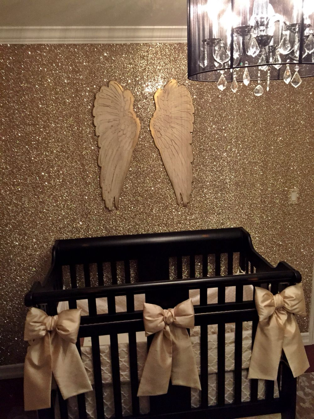Angel Nursery For Hartlyn Gold Glitter Wallpaper By Glitterbug In Sand Color