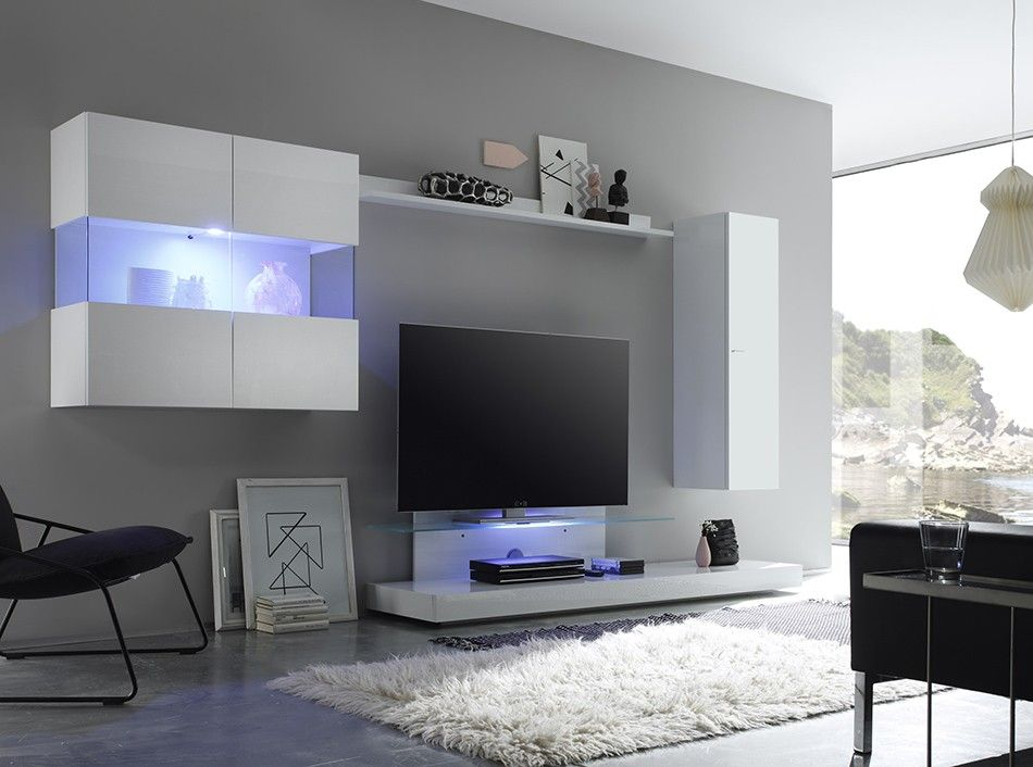 Moderne Wohnzimmerschränke ~ Hochglanz wohnwand in weiß wenge hängend 4 teilig