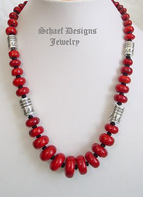 Schaef Designs Red coral black onyx and sterling silver tube bead