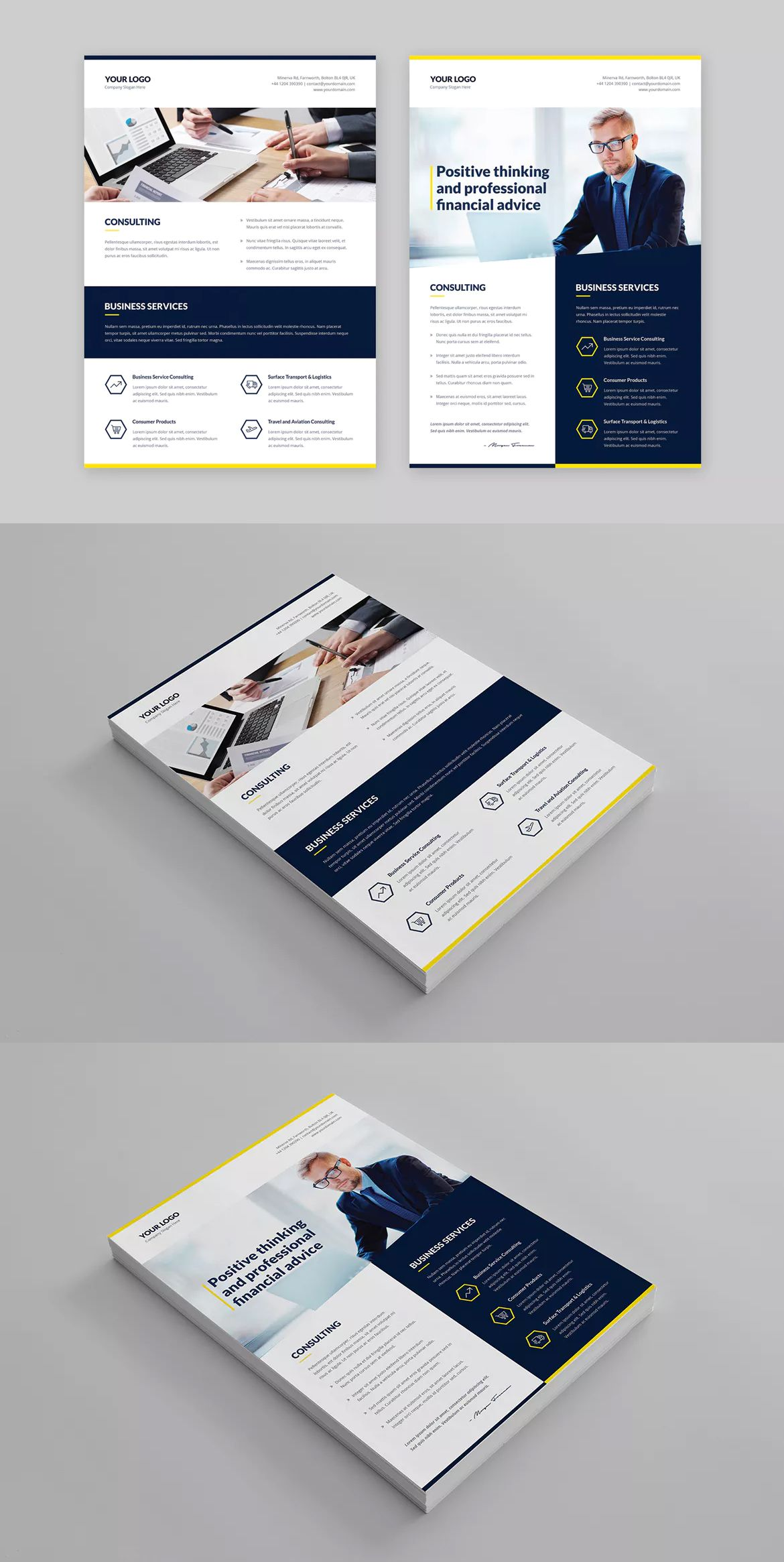 Finance and Business Multipurpose Flyer Template PSD - A4