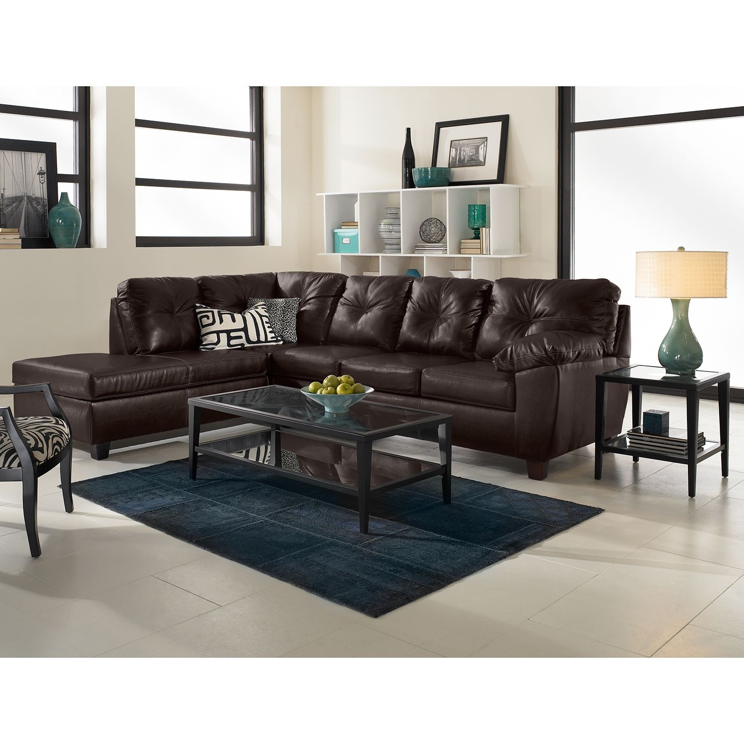 Living Room Furniture Rialto Brown 2 Pc Innerspring Sleeper