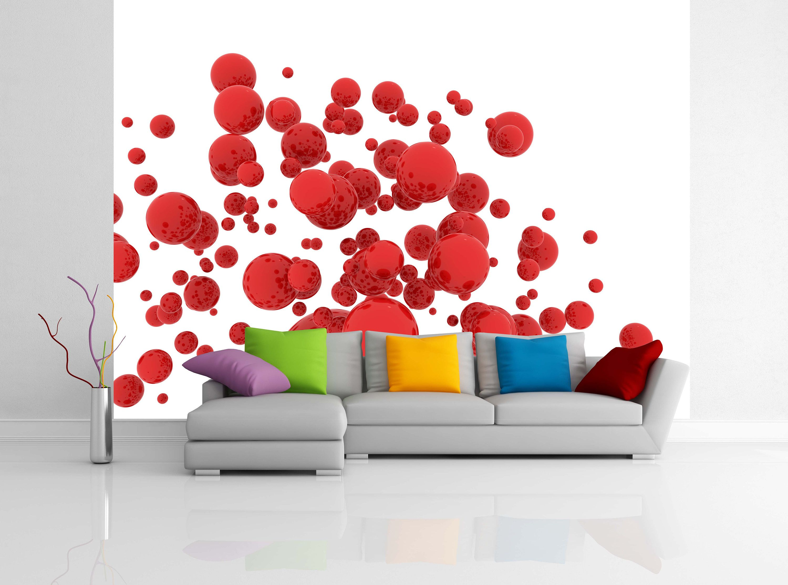 Removable Wallpaper Mural Peel Stick 3d Falling Red Spheres On A White Background By Uniqstiq On Etsy Removable Wallpaper Mural Wallpaper Mural