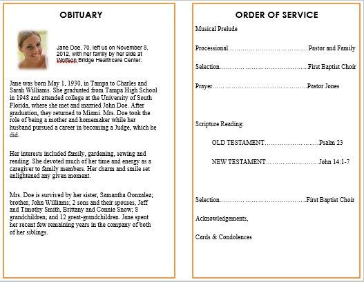 Ideas for Funeral Service Cards   Programs u2013 Examples Funeral - free obituary template