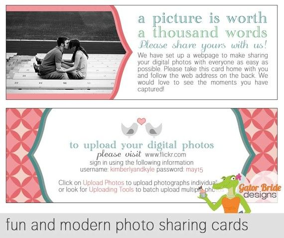 Wedding Photo Sharing Cards For Your Guests Pdf Print Ready File