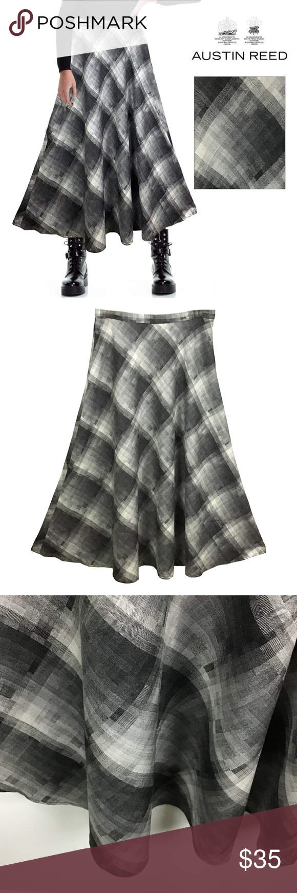 Hp Austin Reed Wool Blend Wt Blk Plaid Skirt Plaid Skirts Clothes Design Wool Blend