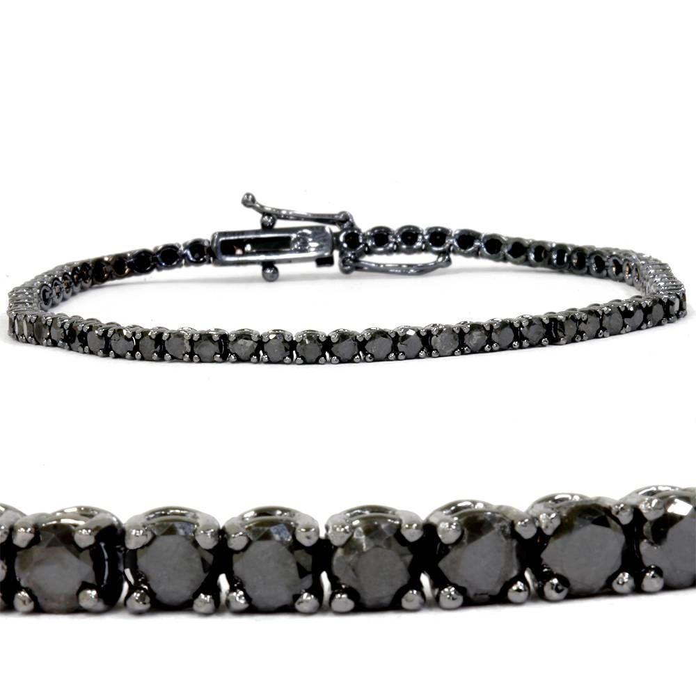 3ct Black Diamond Tennis Bracelet 14k Black Gold 7 Tennis Bracelet Diamond Black Diamond Bracelet Black Gold Ring