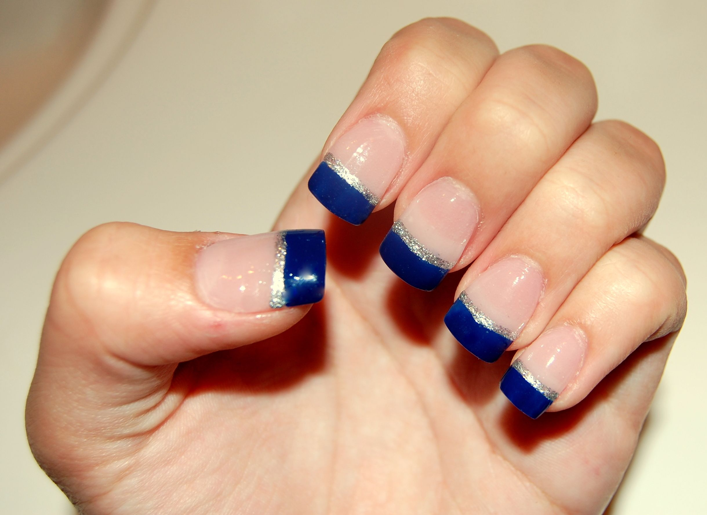 Blue french tips with silver line | Nails | Pinterest