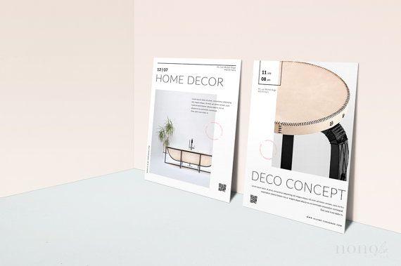 2 modern postcard flyers template minimal flyer design 4 fashion brands bloggers designers