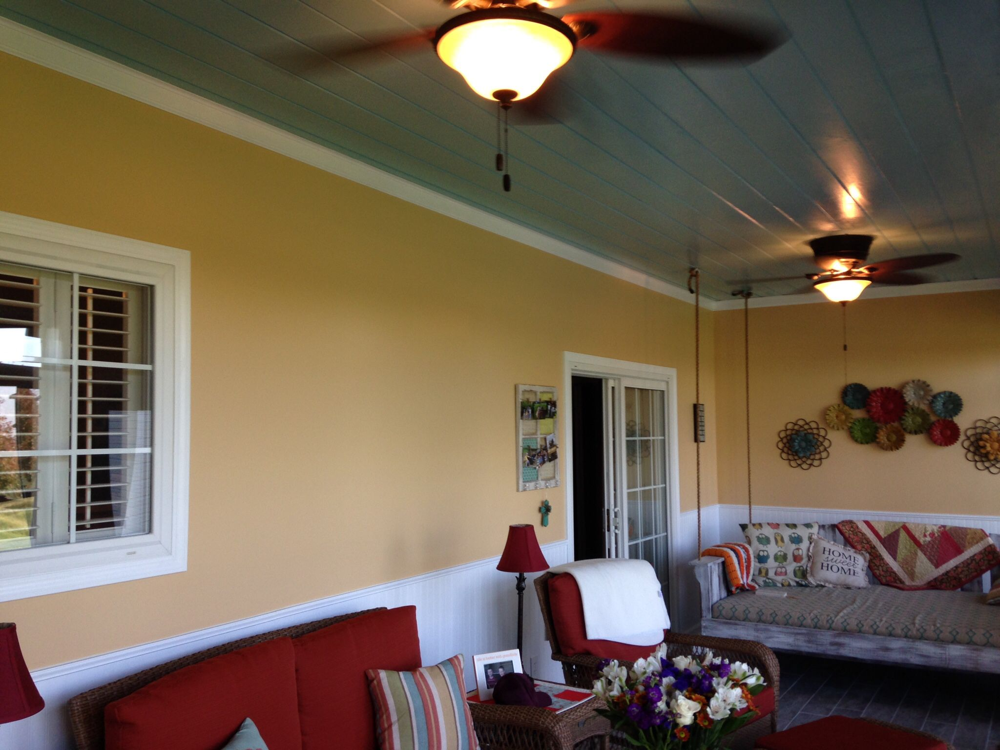 This used to be an outdoor porch!  The ceiling used to be vinyl soffitt material!  Everything you see here is new and we did it!