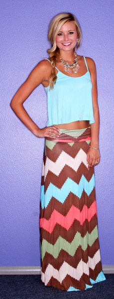 Watercolor Stripe Maxi Skirt | $39.00  Matches perfectly with the L.A. Love Tank!
