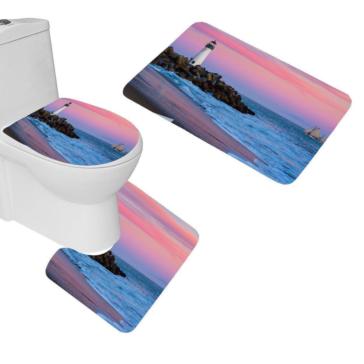 White Lighthouse Pink Could Sky Bath Mat Set3 Piece Bathroom Mats