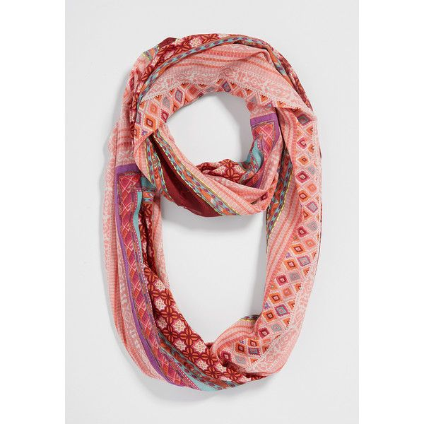maurices Infinity Scarf In Ethnic Print With Raw Edges ($20) ❤ liked on Polyvore featuring accessories, scarves, peach frappe combo, cotton scarves, infinity scarf, lightweight infinity scarf, multi colored infinity scarf and infinity loop scarves