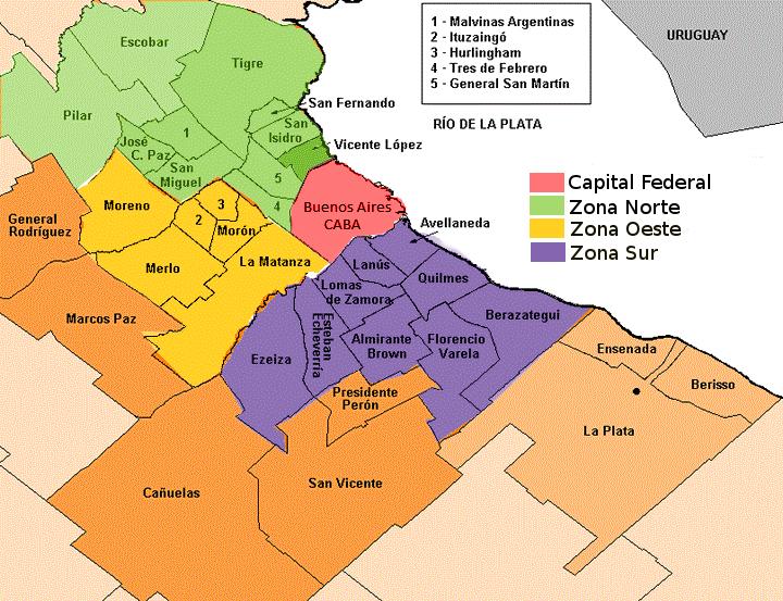 Mapa Del Conurbano Bonaerense Buenos Aires Argentina Provincia