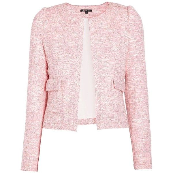 Morgan Tweed-style knitted jacket featuring polyvore fashion clothing outerwear jackets coats & jackets pink women pink tweed jacket tweed jacket pocket jacket long sleeve jacket pink jacket