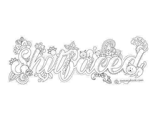 Shitfaced Swear Words Coloring Page from the Sweary Slutty