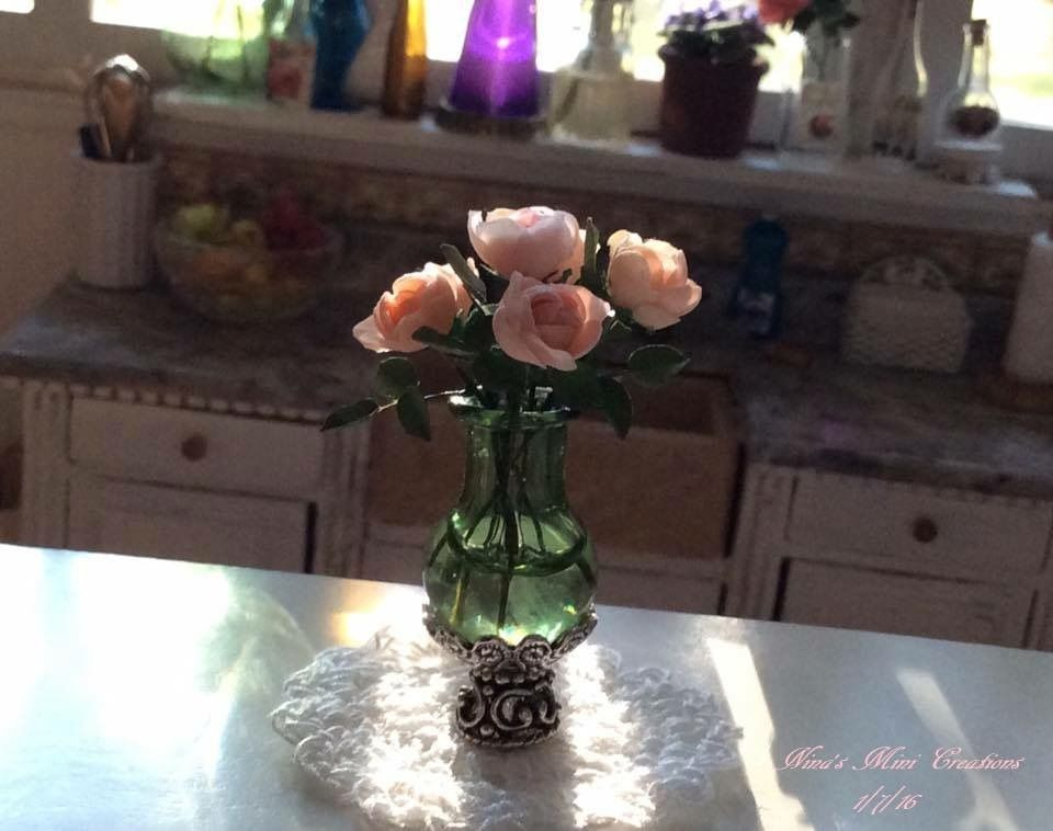 Soft, pink cabbage roses in a OOAK vase. 1:12th scale