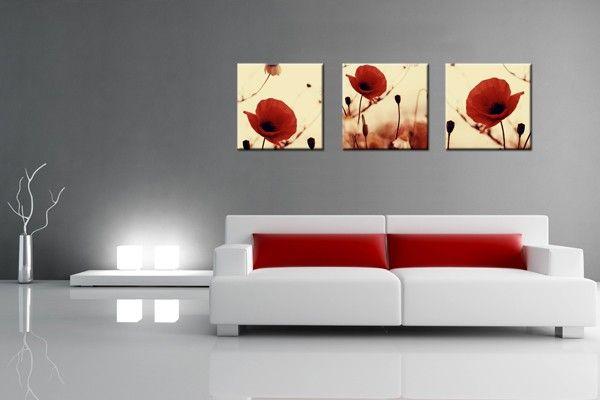 Tableau Salon Rouge Lot de 3 Tableaux – Coquelicots Rouge Toile ...