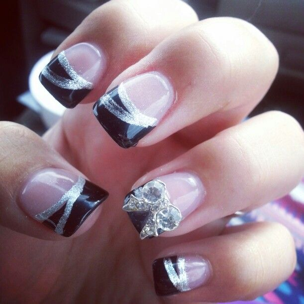 Perfect black and silver nail design I got done for prom. - Perfect Black And Silver Nail Design I Got Done For Prom. Prom