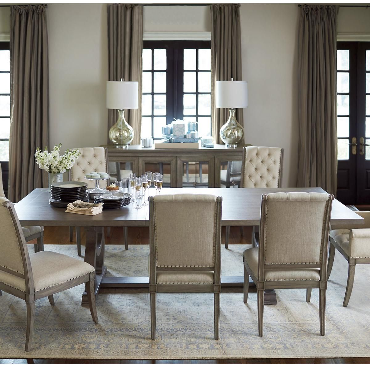 Bernhardt Marquesa Dining Table In Gray Cashmere Table Only