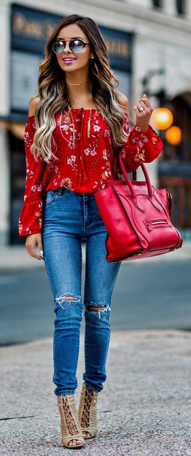 fc6d31d6dbc  spring  fashion Red Flower Printed Off The Shoulder Blouse   Ripped Skinny  Jeans   Red Leather Tote Bag