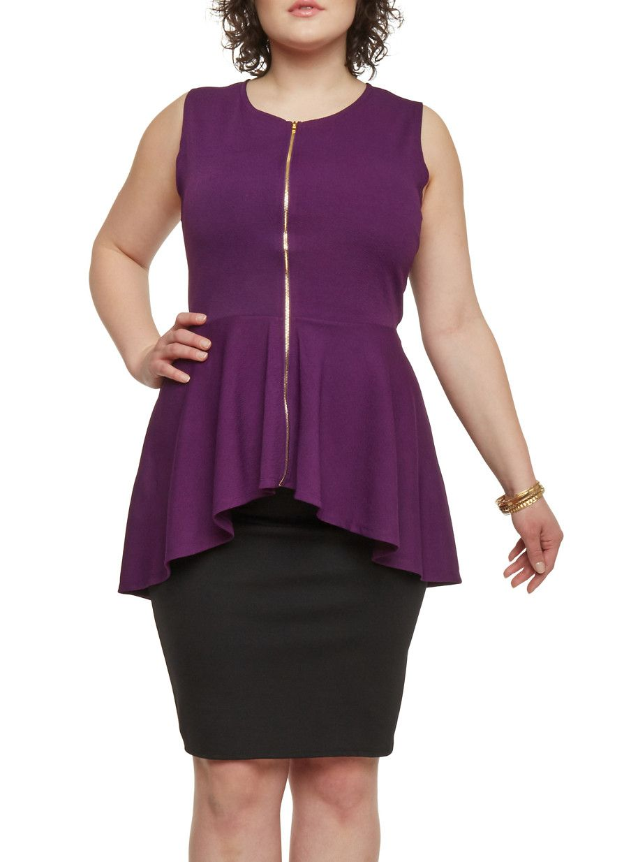 Plus Size High Low Peplum Top with Zip Up Closure,PLUM,large