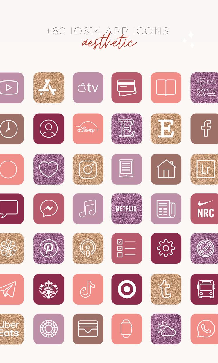 Aesthetic iOS14 app icons, iOS14 Home Screen layou