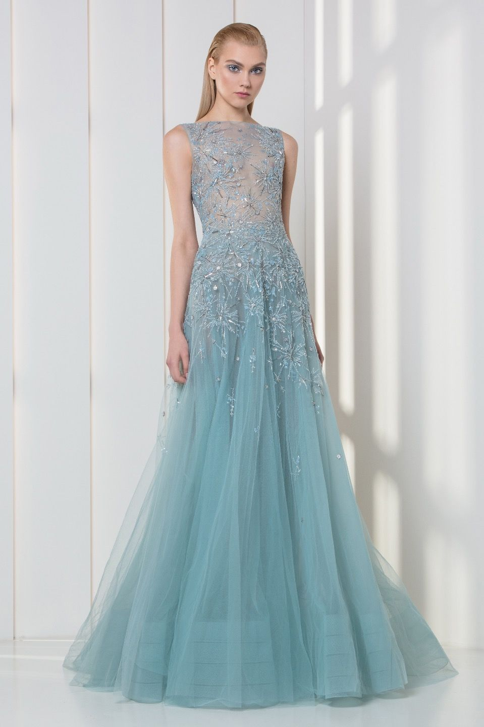 Ice blue tulle dress embellished with crystal and pearls embroidered ...