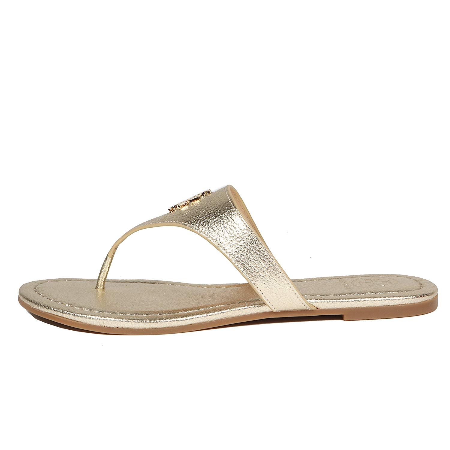 ca5c6fefe2c3a6 Tory Burch Laura Flip Flop Flats Thong Tumbled Leather TB Logo -- Find out  more about the great product at the image link. (This is an affiliate link)    ...