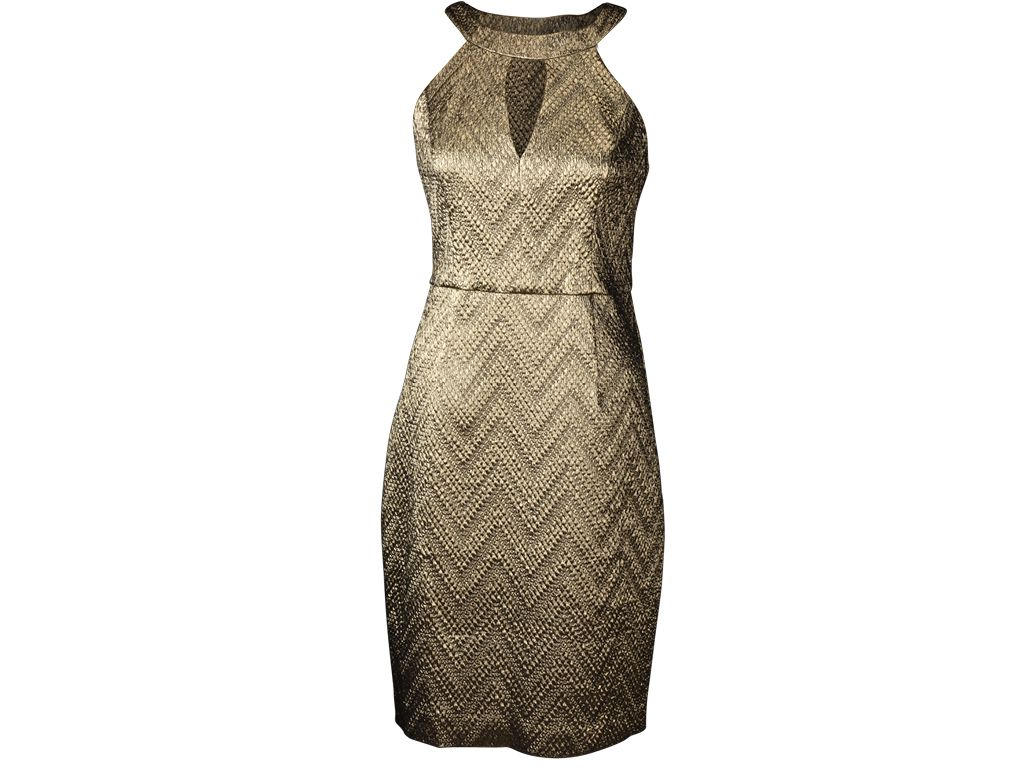 Trina Turk gold cocktail dress, $328, Saks Fifth Avenue | Style ...