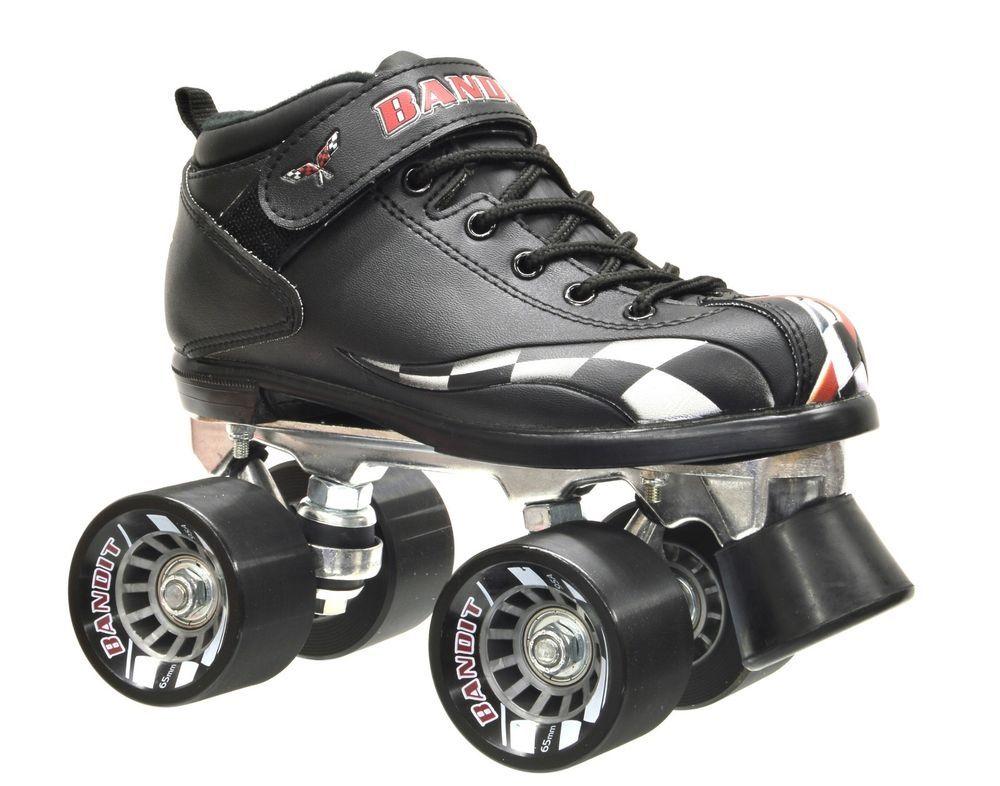 New! Childrens Riedell RW Bandit Quad Roller Skates Black w/ Checkerd Race Flag! #Riedell