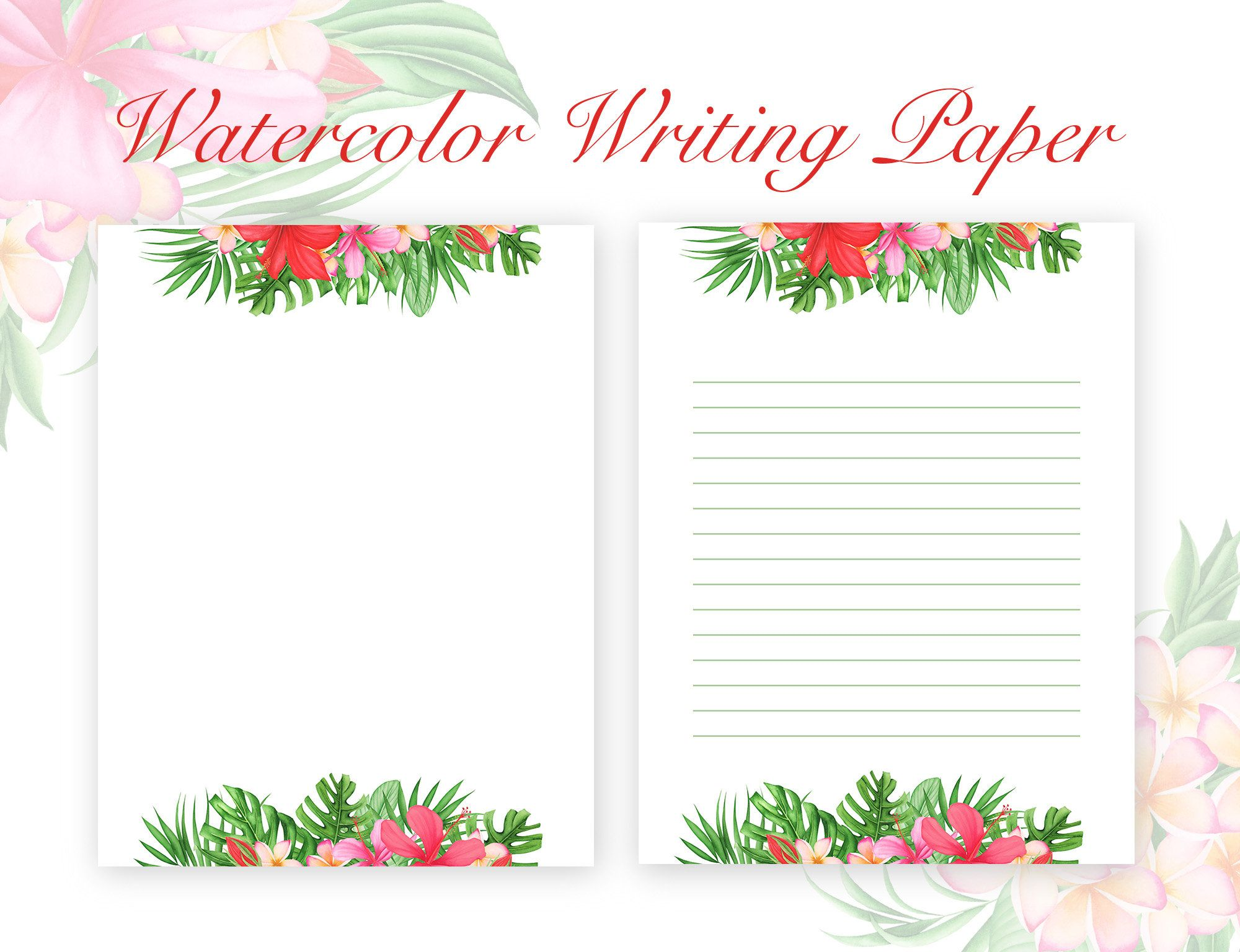 Watercolor Tropical Leaves and Flowers Stationery, Flower ...