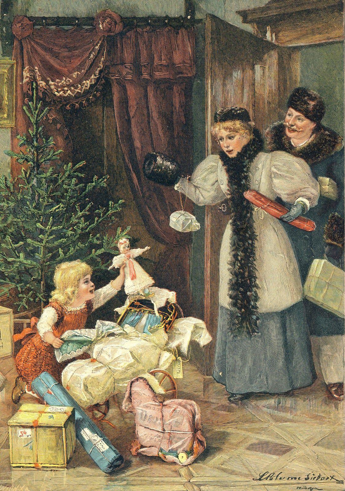 Verfrühte Weihnachtsüberraschung. Gemälde von L. Blume ...