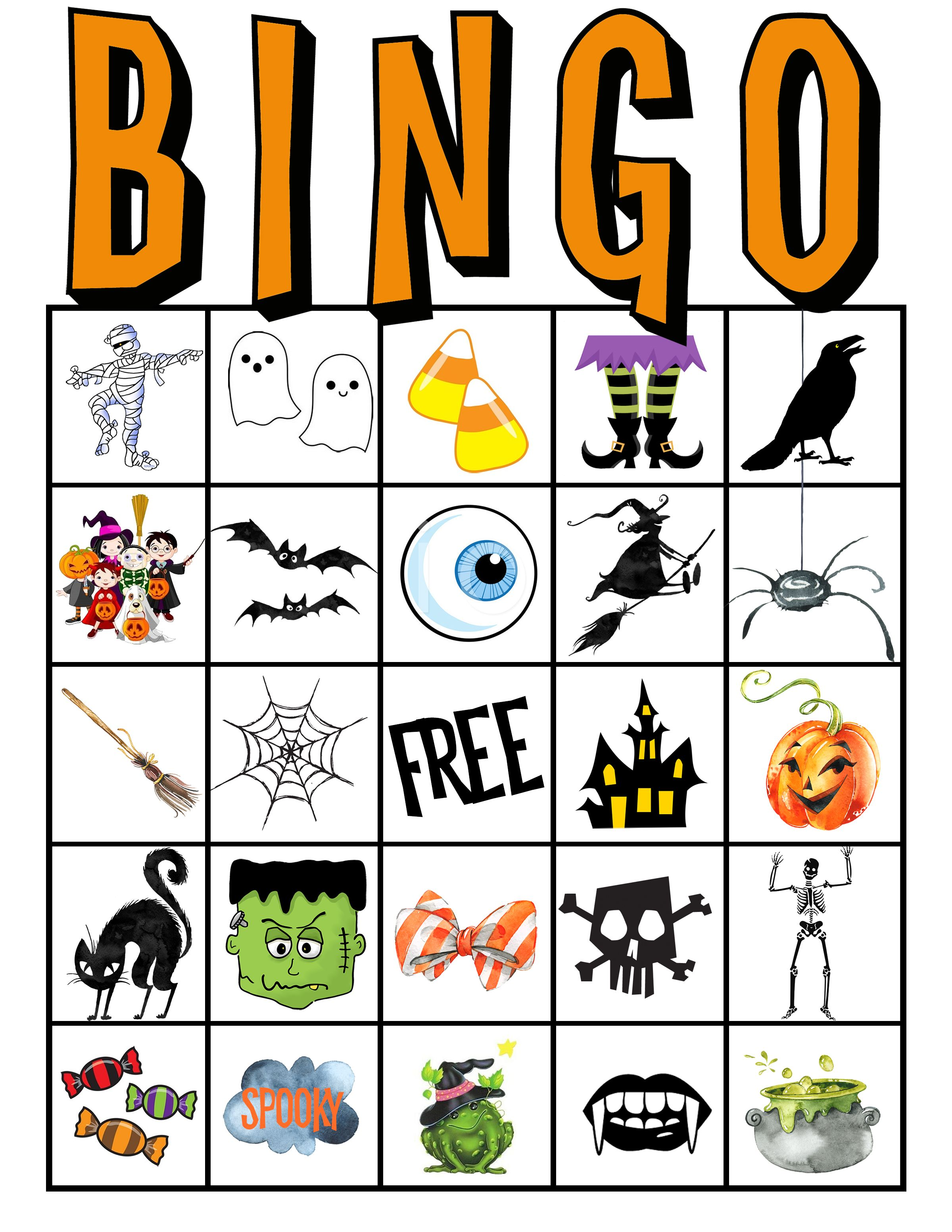 Kids Halloween Party Bingo Cards Free Printable