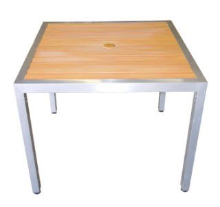 Marvelous ASF ALP3636 Natural PlasTeak Aluminum Patio Table