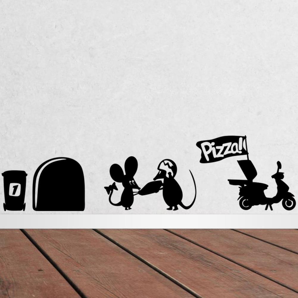 Goedkope Grappige Muis gat muurstickers creatieve rat gat cartoon ...