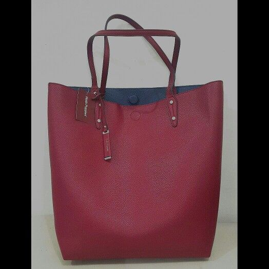 Hush Puppies Bag Wally Tote BA41090RD Use in Two Tone Red-Navy Blue ... 466704012f74c