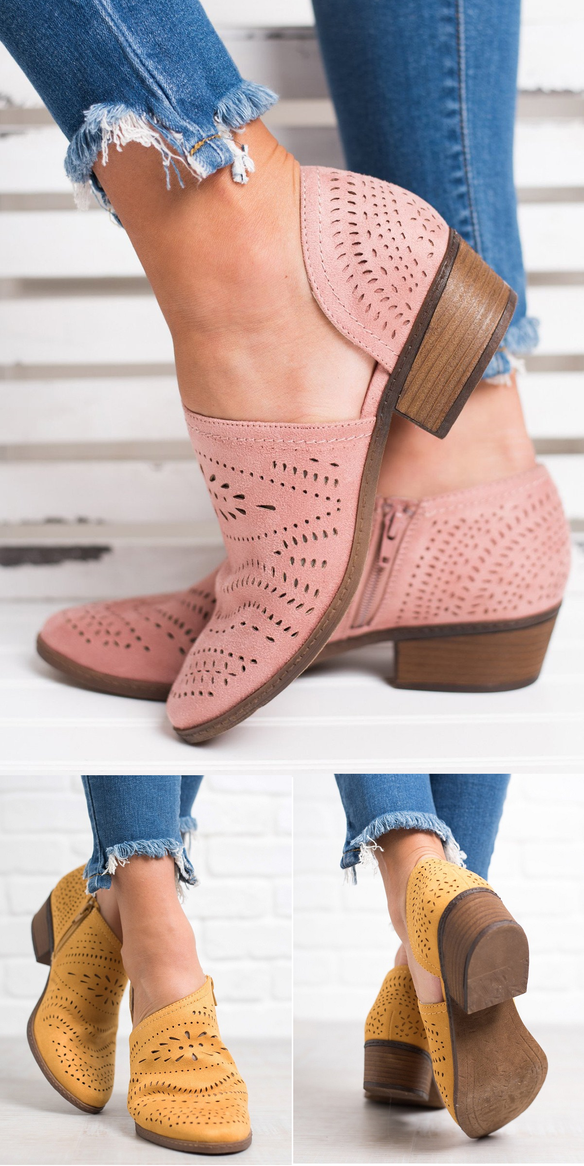 c51ef24ea4cf Free Shipping! Shop Now! Hollow-out Low Heel Cutout Booties Faux Suede  Zipper Ankle Boots