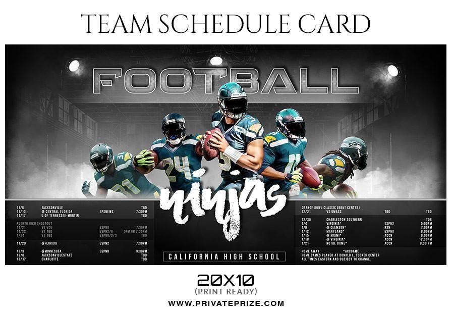 Football Ninjas Team Sports Schedule Card